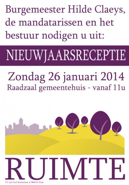 Uitnodiging nieuwjaarsreceptie Ruimte 26 januari 2014
