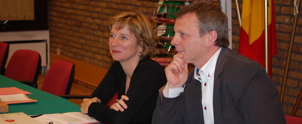 Hilde Claeys (burgemeester) en Trudo Dejonghe (schepen)